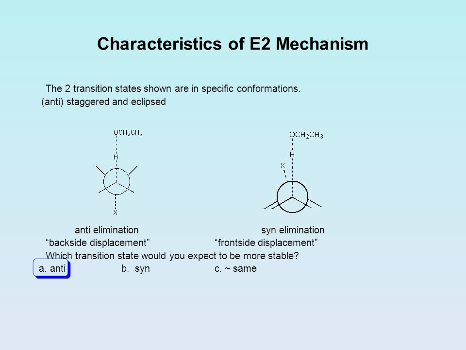 Characteristics of E2 Mechanism The 2 transition states shown are in specific conformations. (anti) staggered and eclipsed anti eliminationsyn elimina