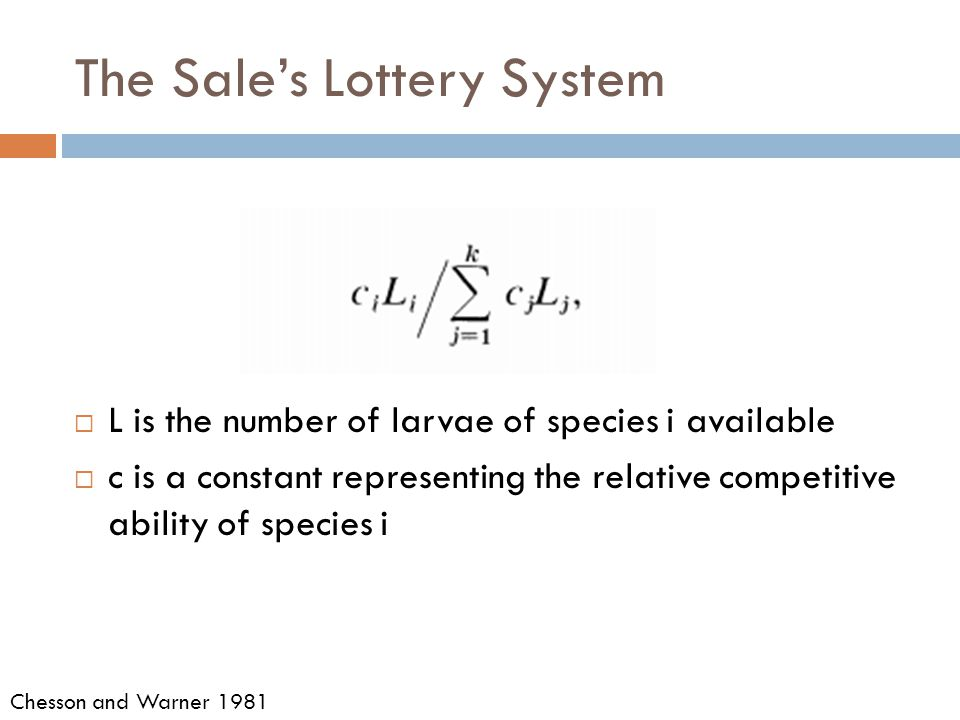 The Sale's Lottery System  L is the number of larvae of species i available  c is a constant representing the relative competitive ability of species i Chesson and Warner 1981