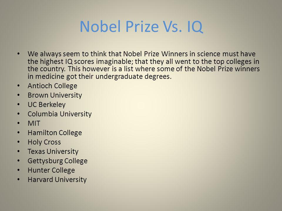 Nobel Prize Vs.