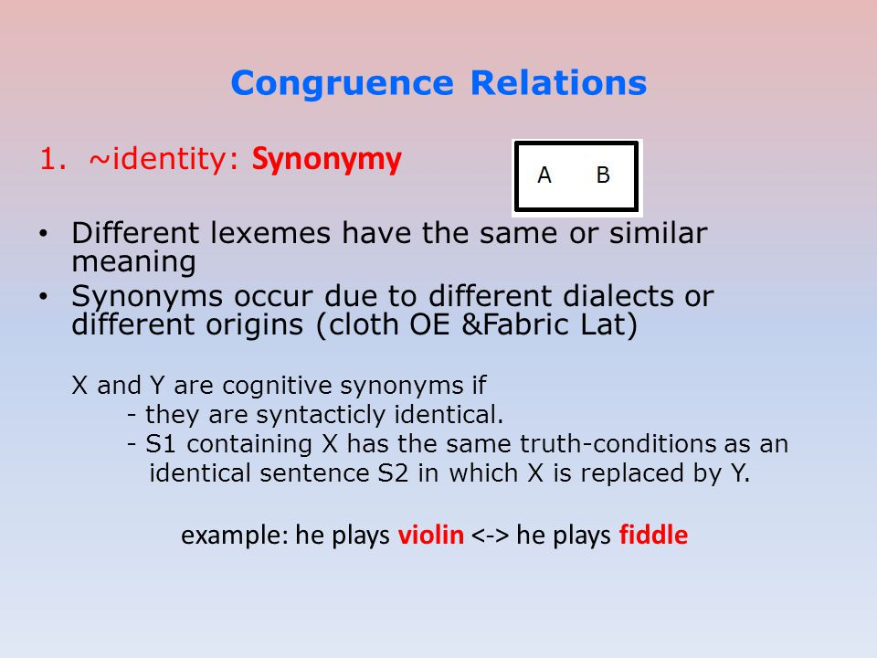 1.~identity: Synonymy Different lexemes have the same or similar meaning Synonyms occur due to different dialects or different origins (cloth OE &Fabr