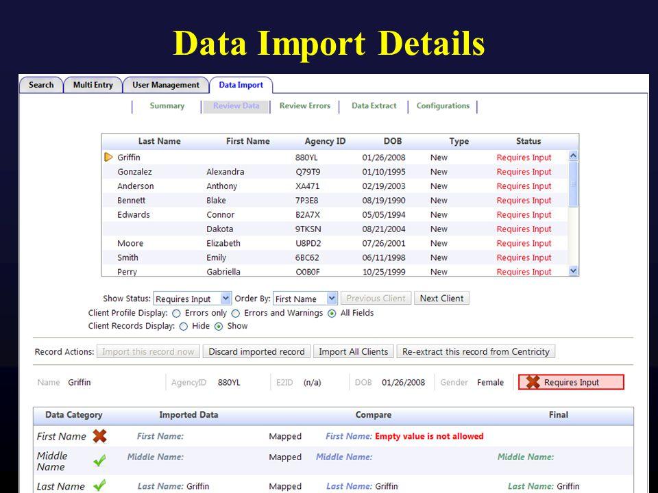 Data Import Details