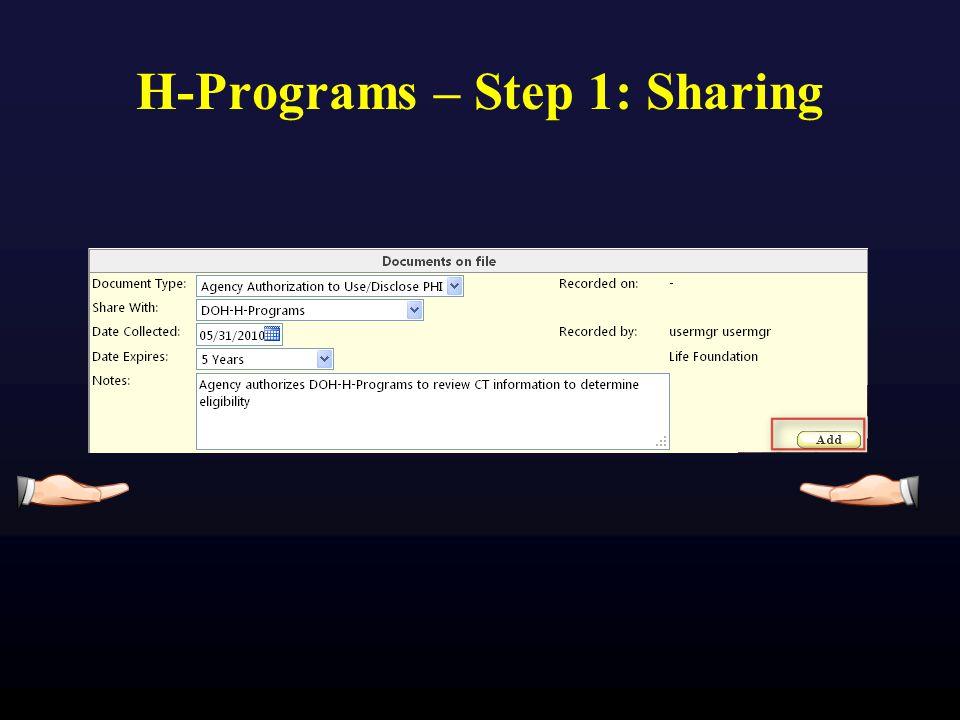 H-Programs – Step 1: Sharing