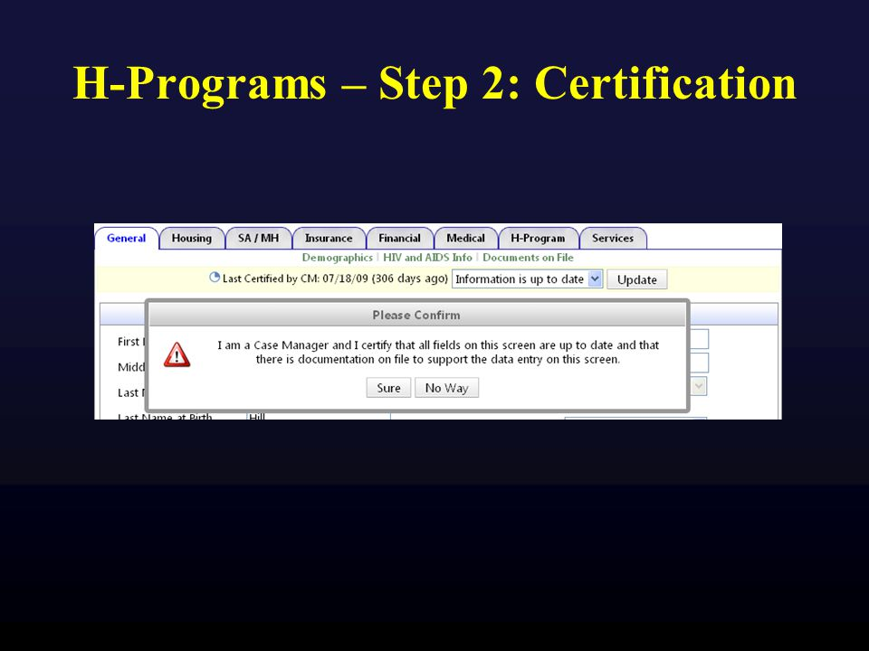 H-Programs – Step 2: Certification