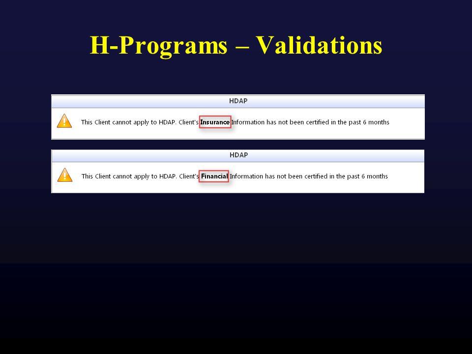 H-Programs – Validations