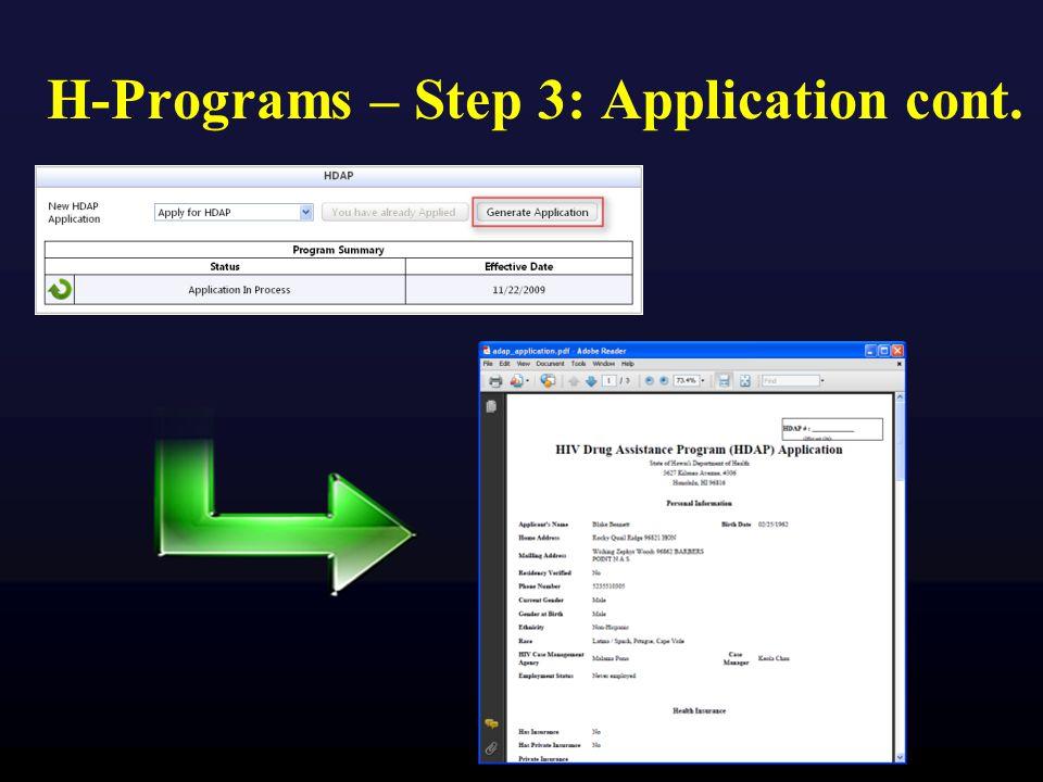 H-Programs – Step 3: Application cont.