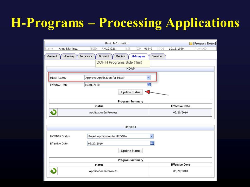 H-Programs – Processing Applications