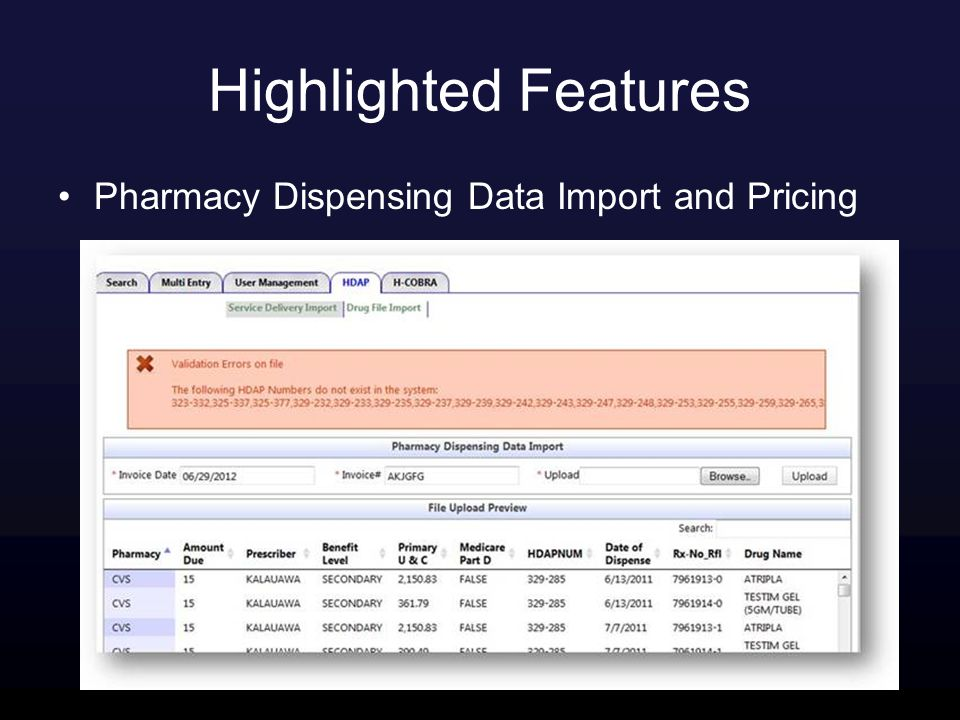 Highlighted Features Pharmacy Dispensing Data Import and Pricing