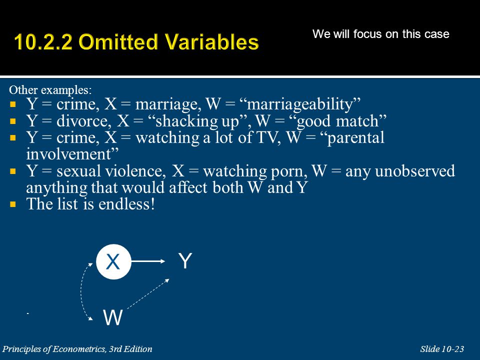 Other examples:  Y = crime, X = marriage, W = marriageability  Y = divorce, X = shacking up , W = good match  Y = crime, X = watching a lot of TV, W = parental involvement  Y = sexual violence, X = watching porn, W = any unobserved anything that would affect both W and Y  The list is endless!.