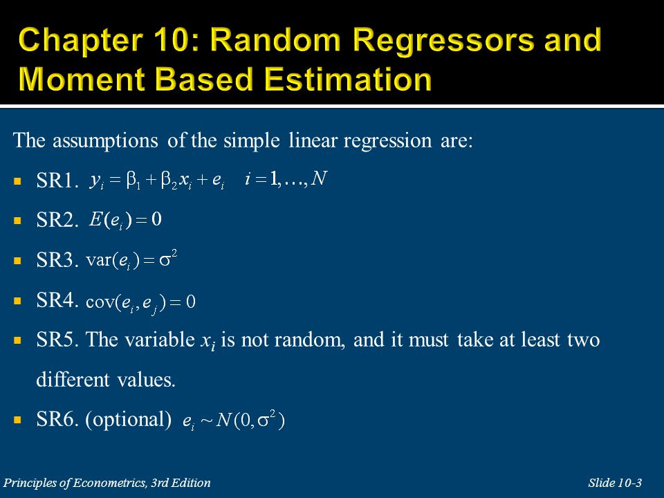 The purpose of this chapter is to discuss regression models in which x i is random and correlated with the error term e i.