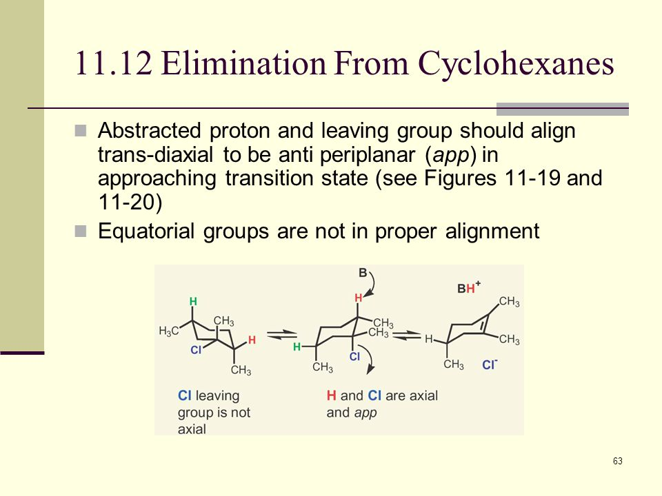 63 11.12 Elimination From Cyclohexanes Abstracted proton and leaving group should align trans-diaxial to be anti periplanar (app) in approaching trans