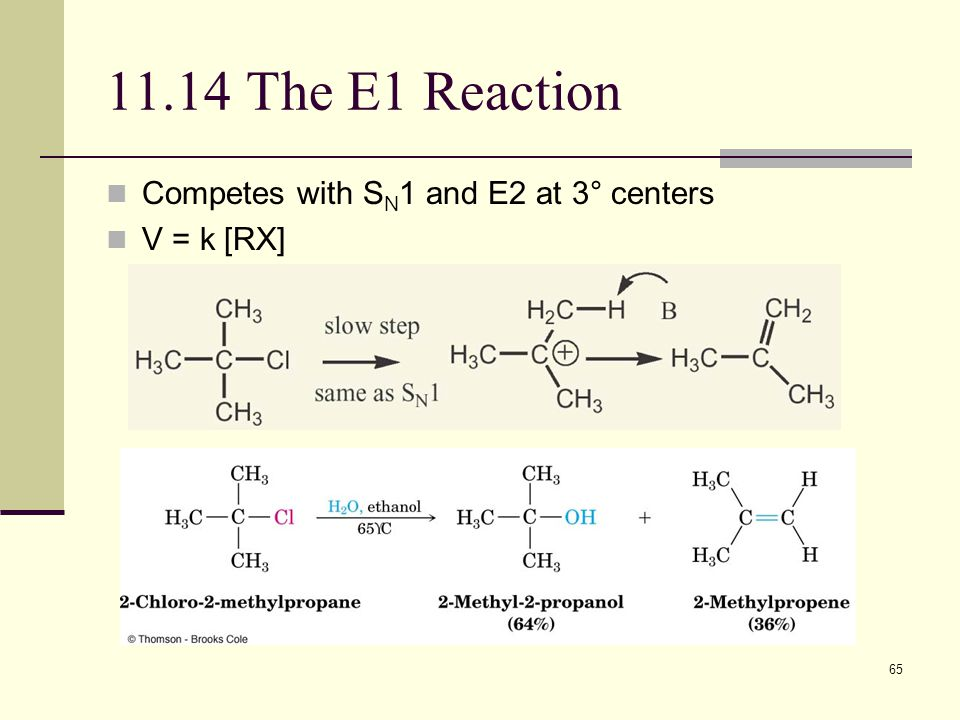 65 11.14 The E1 Reaction Competes with S N 1 and E2 at 3° centers V = k [RX]