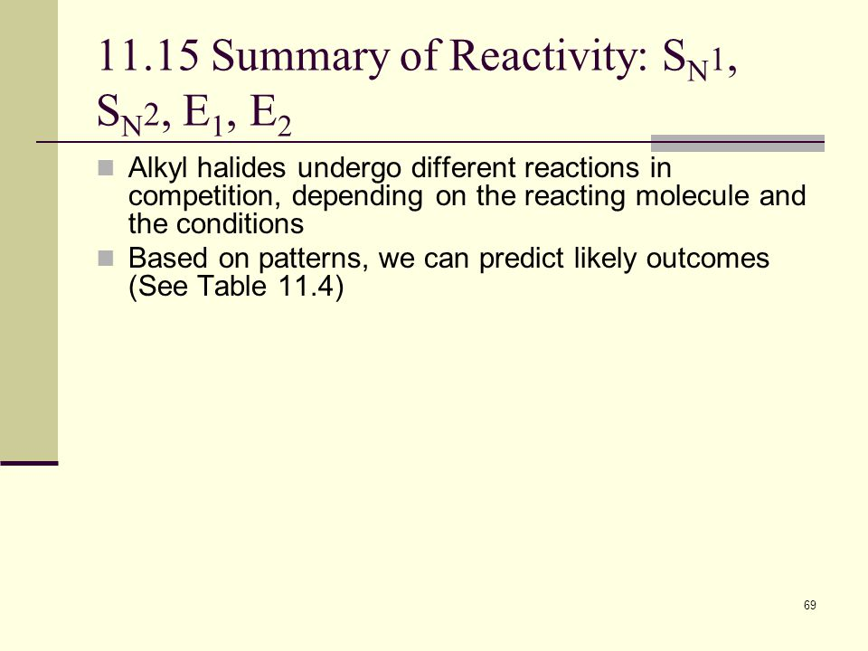 69 11.15 Summary of Reactivity: S N 1, S N 2, E 1, E 2 Alkyl halides undergo different reactions in competition, depending on the reacting molecule an