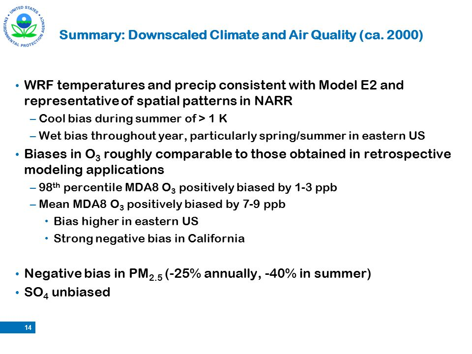 Summary: Downscaled Climate and Air Quality (ca. 2000) WRF temperatures and precip consistent with Model E2 and representative of spatial patterns in