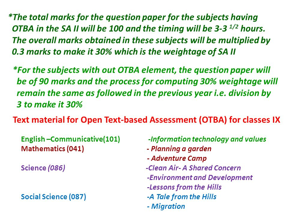 Text material for Open Text-based Assessment (OTBA) for classes IX English –Communicative(101) -Information technology and values Mathematics (041) -