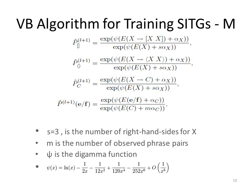 VB Algorithm for Training SITGs - M s=3, is the number of right-hand-sides for X m is the number of observed phrase pairs ψ is the digamma function 16