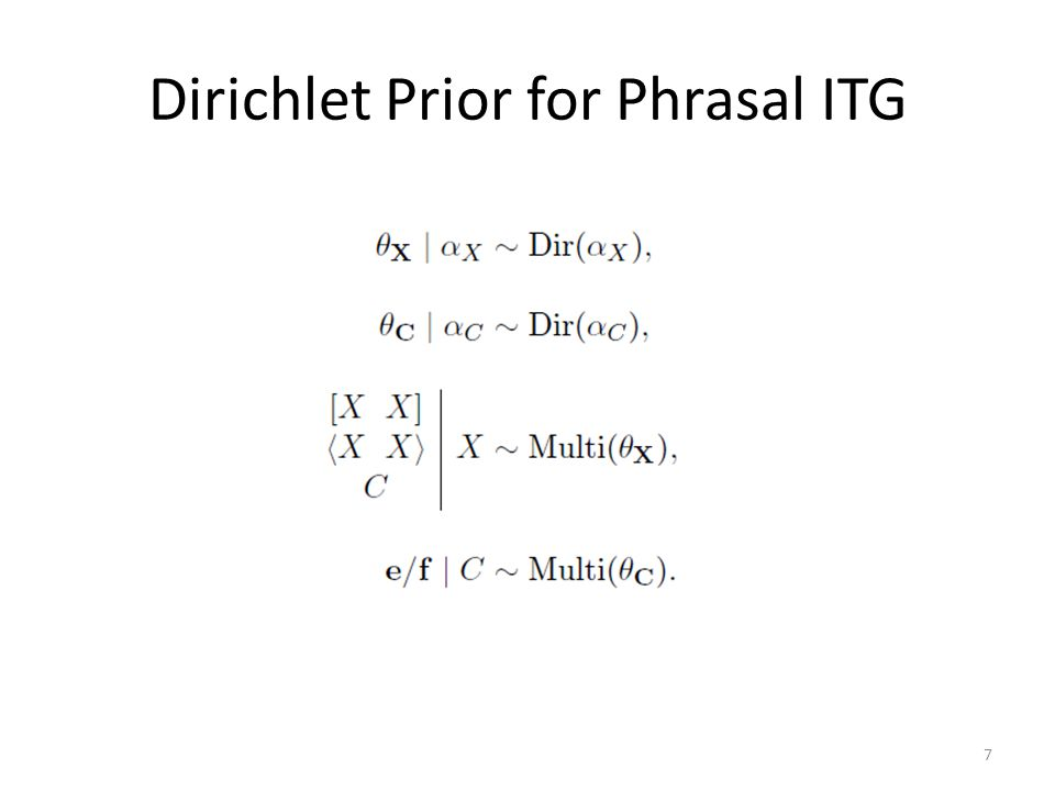 Dirichlet Prior for Phrasal ITG 7