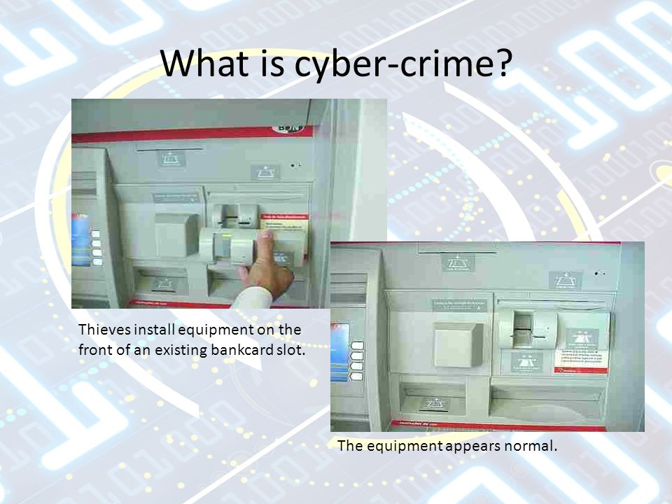 What is cyber-crime. Thieves install equipment on the front of an existing bankcard slot.
