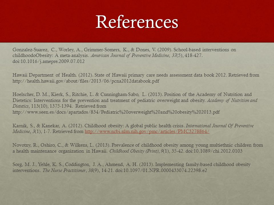 References Gonzalez-Suarez, C., Worley, A., Grimmer-Somers, K., & Dones, V.