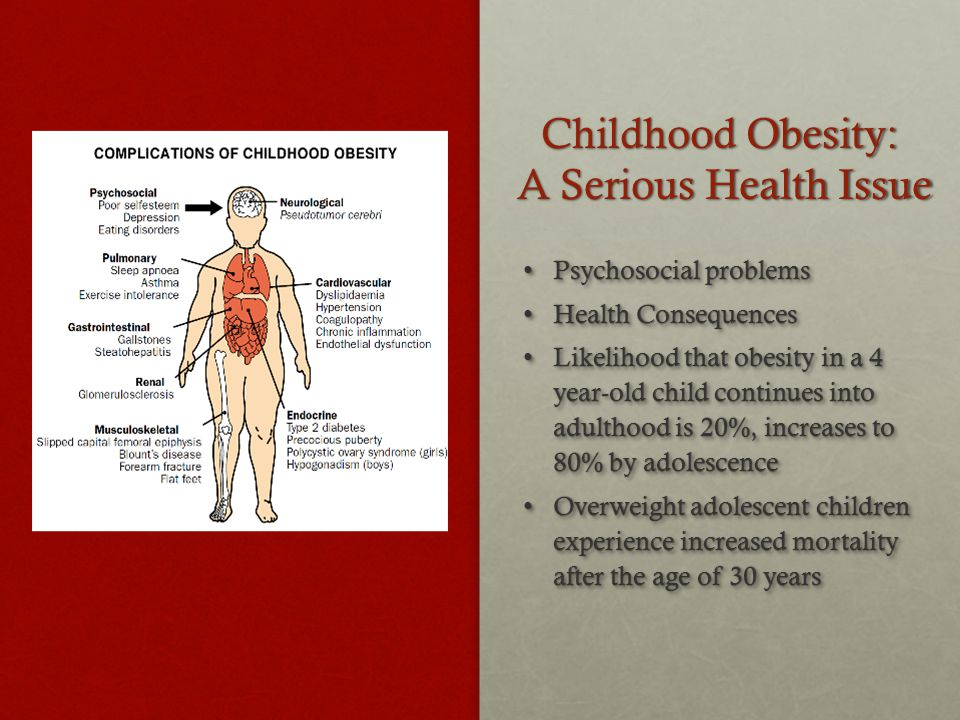 Childhood Obesity: A Serious Health Issue Psychosocial problems Psychosocial problems Health Consequences Health Consequences Likelihood that obesity in a 4 year-old child continues into adulthood is 20%, increases to 80% by adolescence Likelihood that obesity in a 4 year-old child continues into adulthood is 20%, increases to 80% by adolescence Overweight adolescent children experience increased mortality after the age of 30 years Overweight adolescent children experience increased mortality after the age of 30 years Psychosocial problems Psychosocial problems Health Consequences Health Consequences Likelihood that obesity in a 4 year-old child continues into adulthood is 20%, increases to 80% by adolescence Likelihood that obesity in a 4 year-old child continues into adulthood is 20%, increases to 80% by adolescence Overweight adolescent children experience increased mortality after the age of 30 years Overweight adolescent children experience increased mortality after the age of 30 years