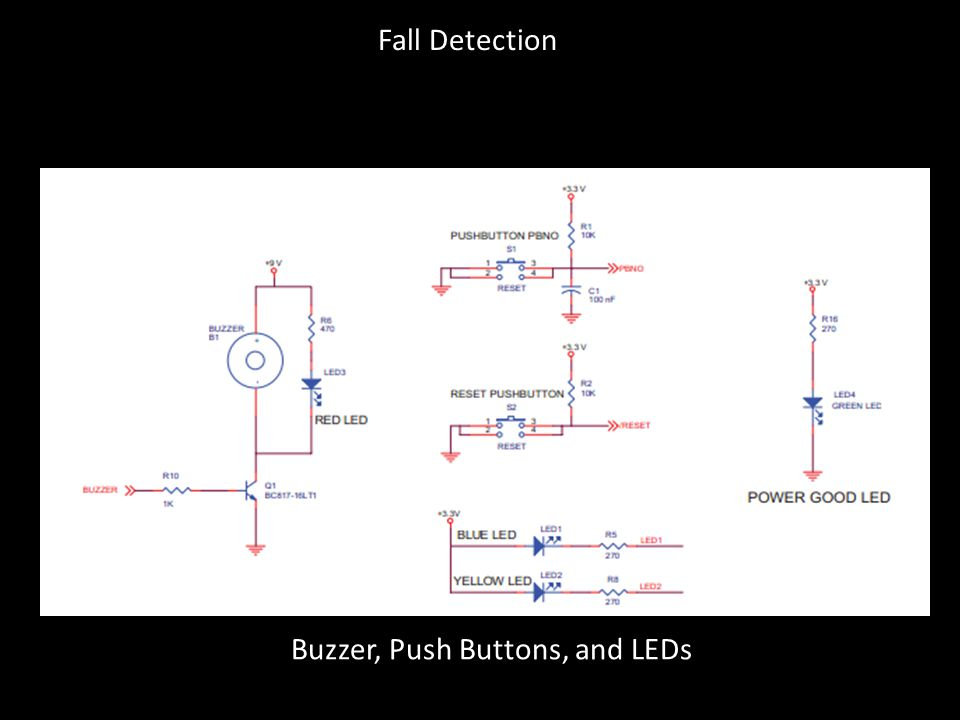 Buzzer, Push Buttons, and LEDs Fall Detection