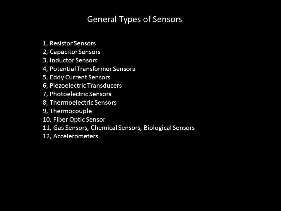 General Types of Sensors 1, Resistor Sensors 2, Capacitor Sensors 3, Inductor Sensors 4, Potential Transformer Sensors 5, Eddy Current Sensors 6, Piez