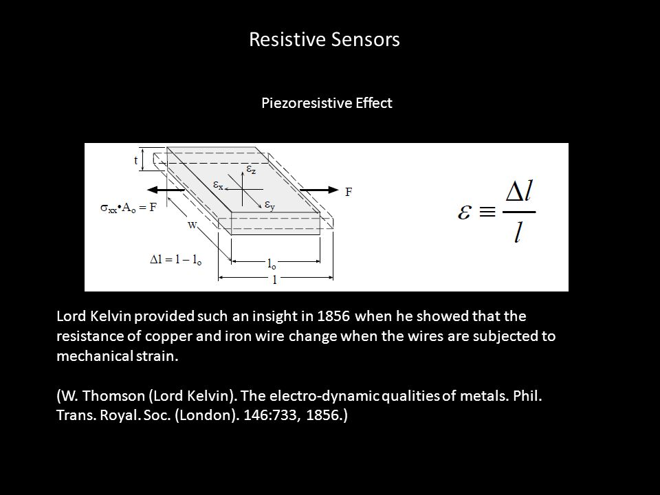 Piezoresistive Effect Lord Kelvin provided such an insight in 1856 when he showed that the resistance of copper and iron wire change when the wires ar