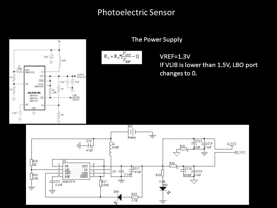 The Power Supply VREF=1.3V If VLIB is lower than 1.5V, LBO port changes to 0. Photoelectric Sensor