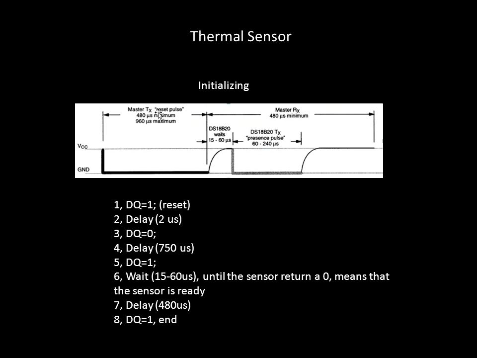 Initializing 1, DQ=1; (reset) 2, Delay (2 us) 3, DQ=0; 4, Delay (750 us) 5, DQ=1; 6, Wait (15-60us), until the sensor return a 0, means that the senso