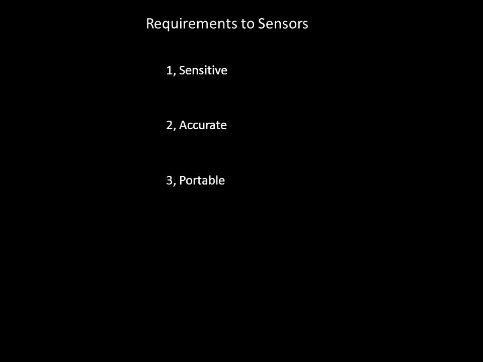 Requirements to Sensors 3, Portable 2, Accurate 1, Sensitive