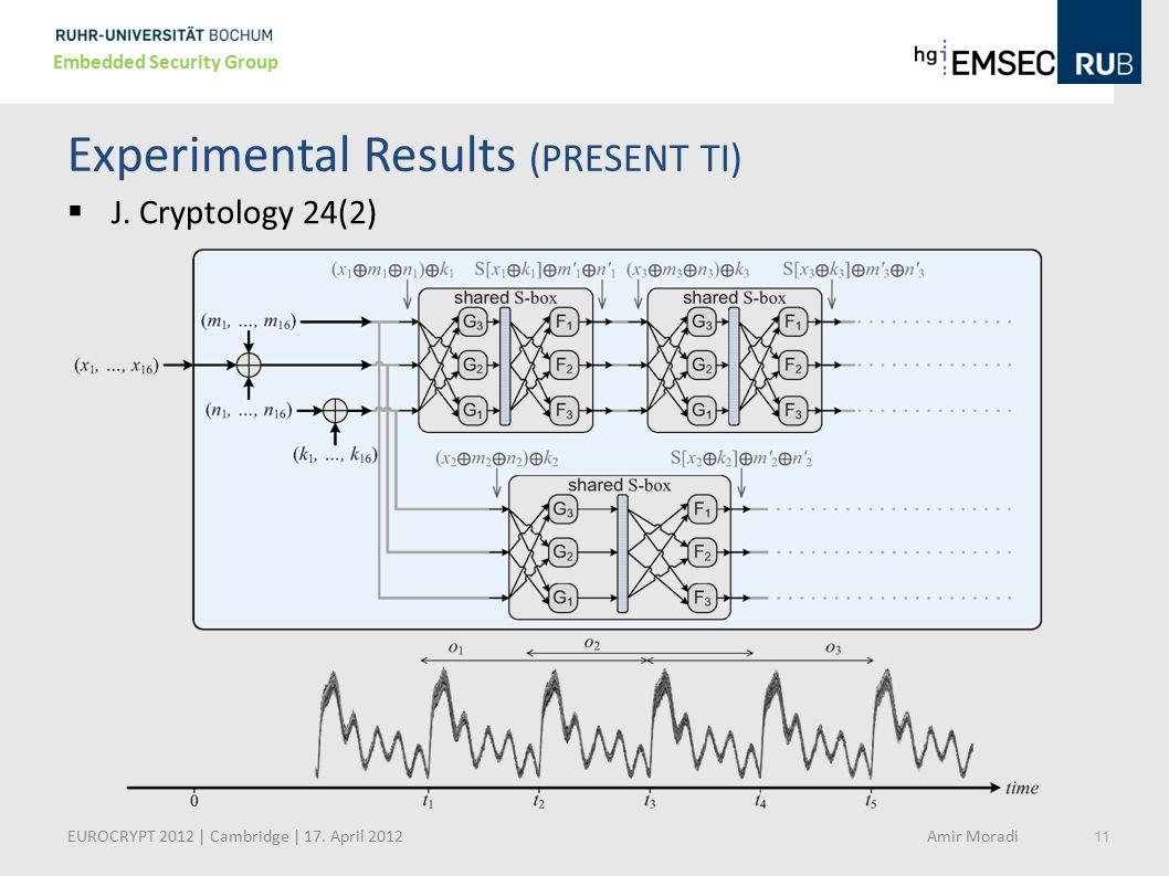 11 Embedded Security Group Experimental Results (PRESENT TI)  J. Cryptology 24(2) EUROCRYPT 2012 | Cambridge | 17. April 2012 Amir Moradi