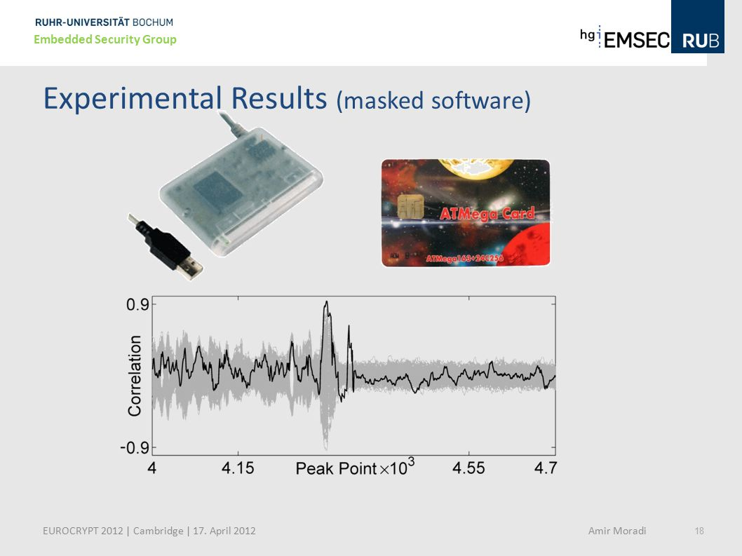18 Embedded Security Group Experimental Results (masked software) EUROCRYPT 2012 | Cambridge | 17. April 2012 Amir Moradi