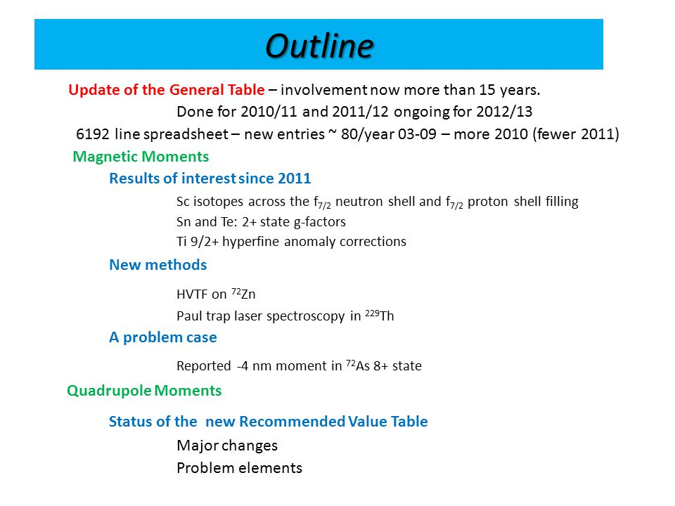 Outline Update of the General Table – involvement now more than 15 years.