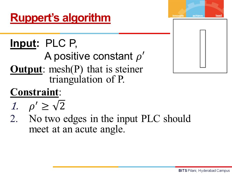 BITS Pilani, Hyderabad Campus Ruppert's algorithm