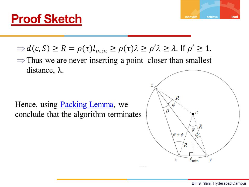 BITS Pilani, Hyderabad Campus Proof Sketch Hence, using Packing Lemma, we conclude that the algorithm terminatesPacking Lemma