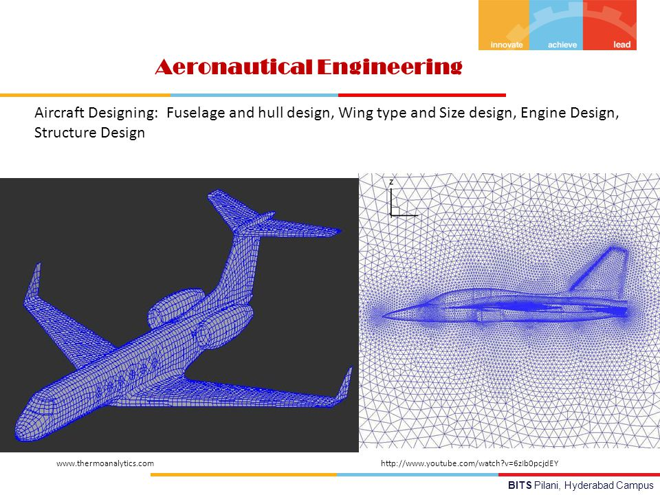 BITS Pilani, Hyderabad Campus Aeronautical Engineering Aircraft Designing:Fuselage and hull design, Wing type and Size design, Engine Design, Structure Design http://www.youtube.com/watch v=6zIb0pcjdEYwww.thermoanalytics.com