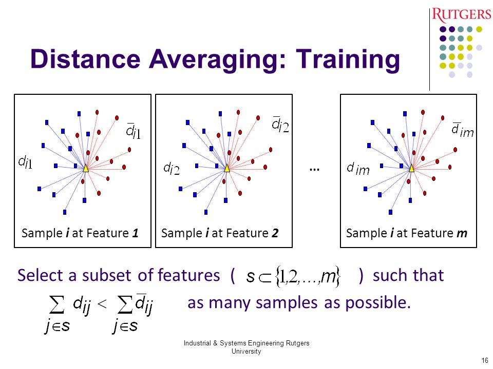 Distance Averaging: Training Industrial & Systems Engineering Rutgers University 16 Sample i at Feature 1 ∙∙∙ Sample i at Feature 2Sample i at Feature