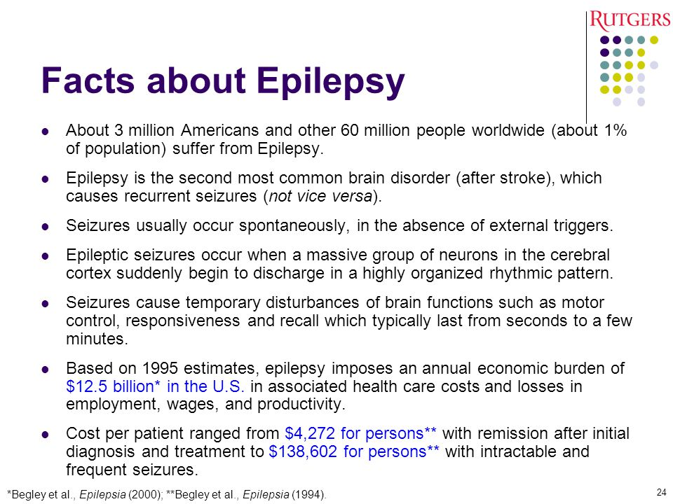 Facts about Epilepsy About 3 million Americans and other 60 million people worldwide (about 1% of population) suffer from Epilepsy.