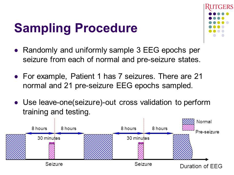 Sampling Procedure Randomly and uniformly sample 3 EEG epochs per seizure from each of normal and pre-seizure states.