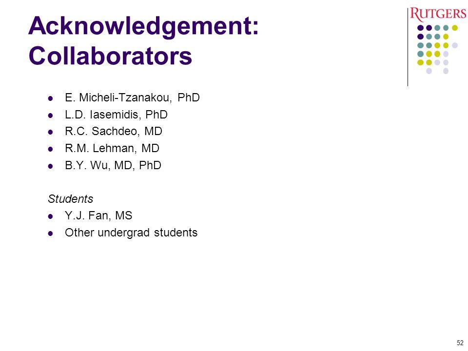 Acknowledgement: Collaborators E.Micheli-Tzanakou, PhD L.D.