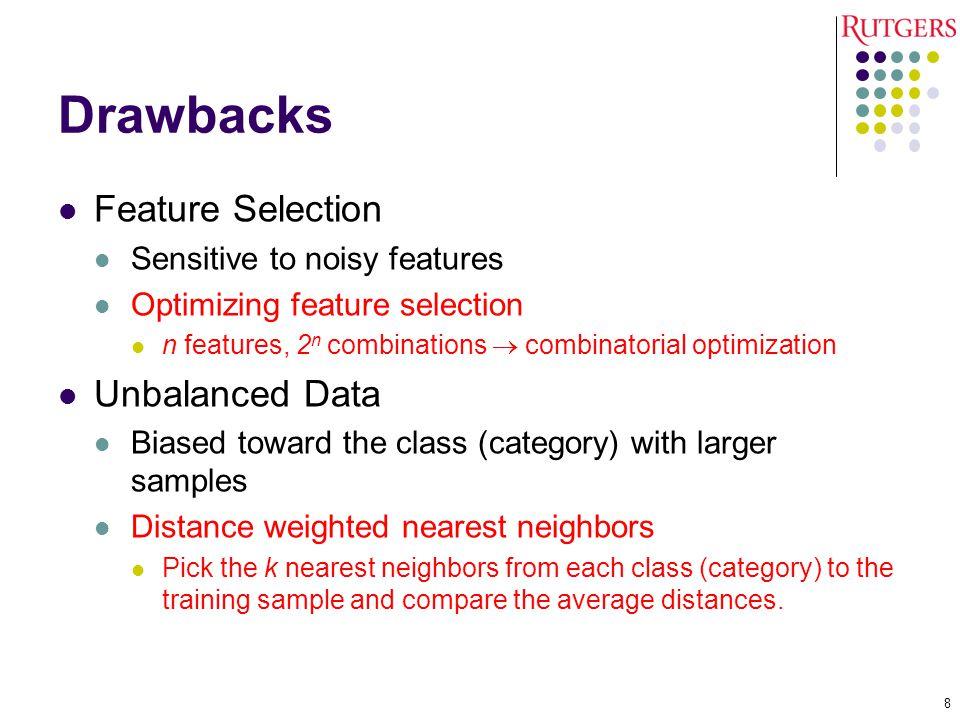 Drawbacks Feature Selection Sensitive to noisy features Optimizing feature selection n features, 2 n combinations  combinatorial optimization Unbalan