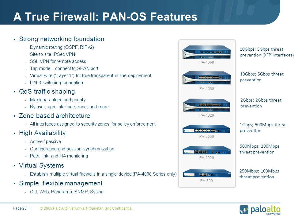 A True Firewall: PAN-OS Features Strong networking foundation - Dynamic routing (OSPF, RIPv2) - Site-to-site IPSec VPN - SSL VPN for remote access - Tap mode – connect to SPAN port - Virtual wire ( Layer 1 ) for true transparent in-line deployment - L2/L3 switching foundation QoS traffic shaping - Max/guaranteed and priority - By user, app, interface, zone, and more Zone-based architecture - All interfaces assigned to security zones for policy enforcement High Availability - Active / passive - Configuration and session synchronization - Path, link, and HA monitoring Virtual Systems - Establish multiple virtual firewalls in a single device (PA-4000 Series only) Simple, flexible management - CLI, Web, Panorama, SNMP, Syslog © 2009 Palo Alto Networks.