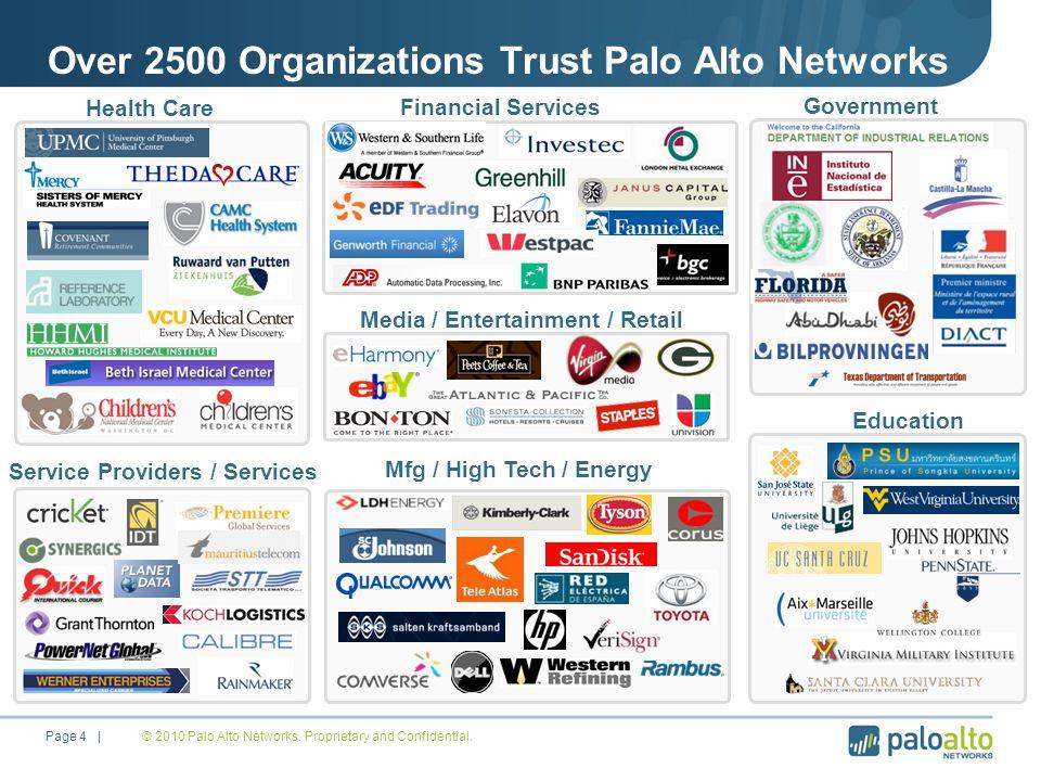 Over 2500 Organizations Trust Palo Alto Networks © 2010 Palo Alto Networks.