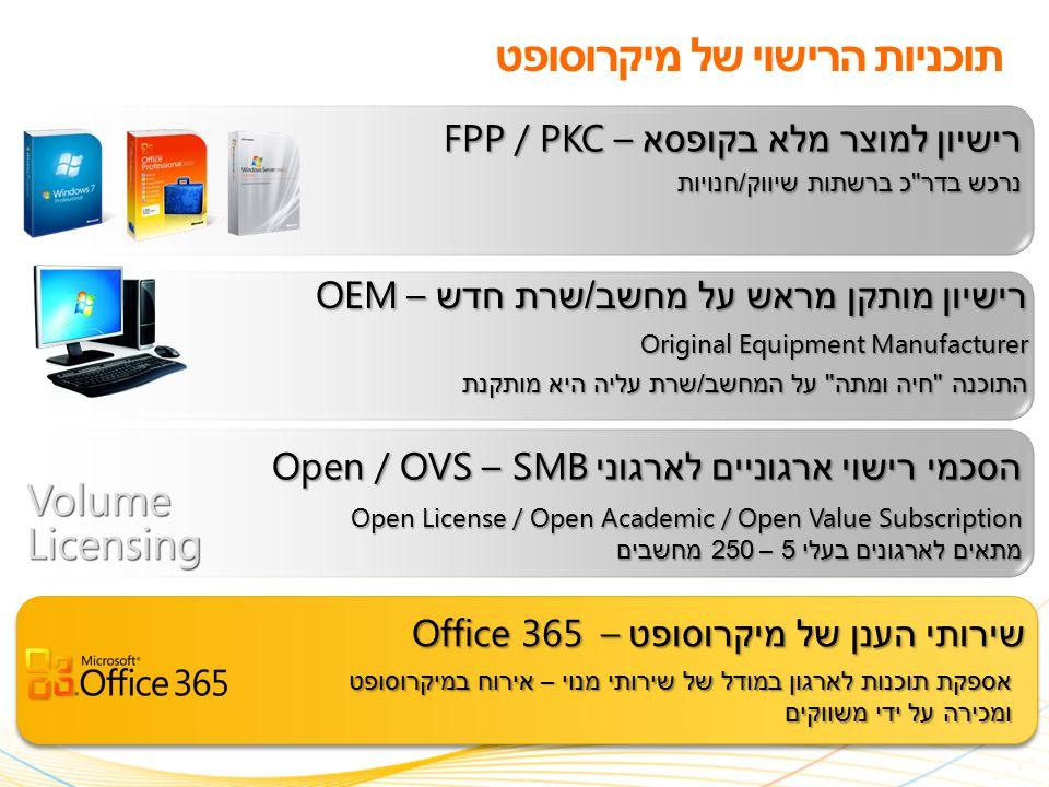 תוכניות הרישוי של מיקרוסופט רישיון למוצר מלא בקופסא – FPP / PKC נרכש בדר כ ברשתות שיווק / חנויות רישיון מותקן מראש על מחשב / שרת חדש – OEM Original Equipment Manufacturer התוכנה חיה ומתה על המחשב / שרת עליה היא מותקנת הסכמי רישוי ארגוניים לארגוני SMB – Open / OVS Open License / Open Academic / Open Value Subscription מתאים לארגונים בעלי 5 – 250 מחשבים שירותי הענן של מיקרוסופט – Office 365 אספקת תוכנות לארגון במודל של שירותי מנוי – אירוח במיקרוסופט ומכירה על ידי משווקים