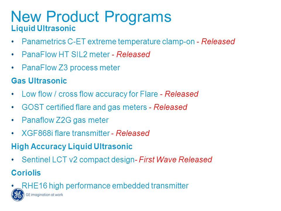 New Product Programs Liquid Ultrasonic Panametrics C-ET extreme temperature clamp-on - Released PanaFlow HT SIL2 meter - Released PanaFlow Z3 process