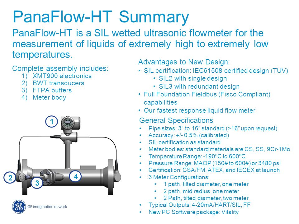 PanaFlow-HT is a SIL wetted ultrasonic flowmeter for the measurement of liquids of extremely high to extremely low temperatures. Complete assembly inc