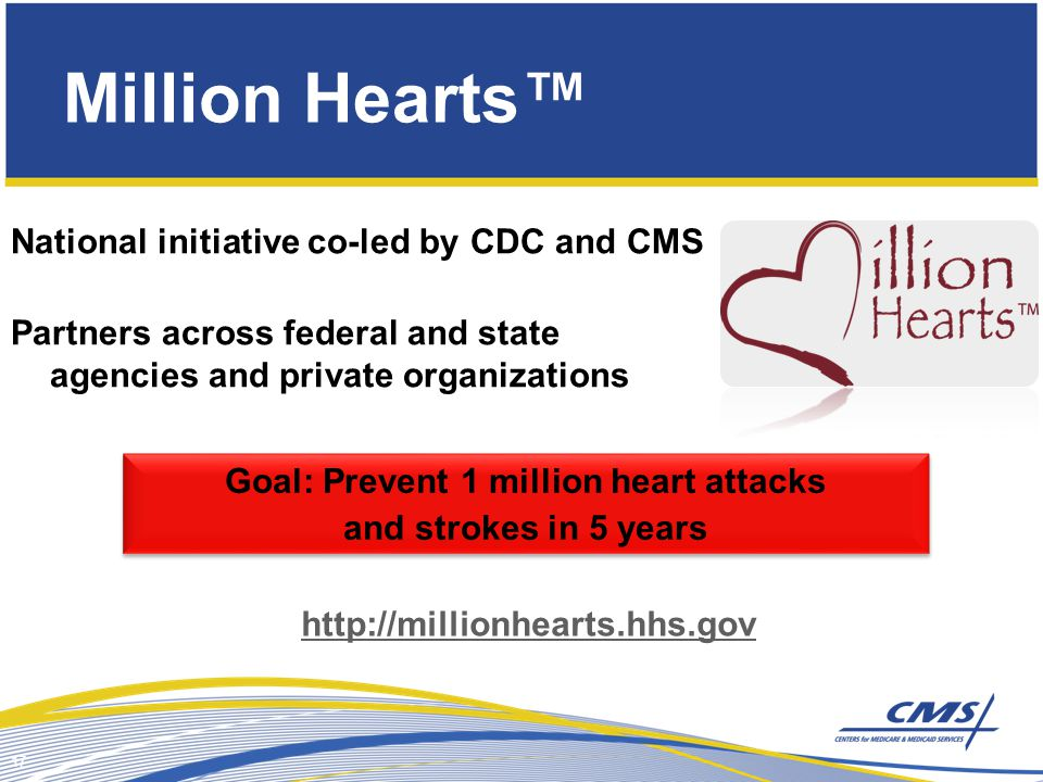 Million Hearts™ National initiative co-led by CDC and CMS Partners across federal and state agencies and private organizations 17 Goal: Prevent 1 million heart attacks and strokes in 5 years Goal: Prevent 1 million heart attacks and strokes in 5 years http://millionhearts.hhs.gov