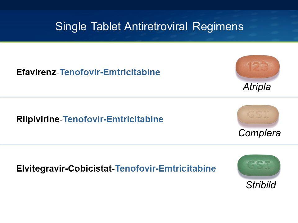 Single Tablet Antiretroviral Regimens Efavirenz-Tenofovir-Emtricitabine Rilpivirine-Tenofovir-Emtricitabine Elvitegravir-Cobicistat-Tenofovir-Emtricit