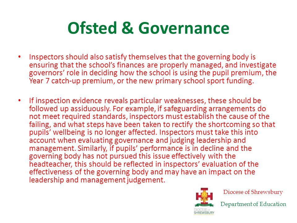 Ofsted & Governance Schools judged as 'requires improvement' Where governance is ineffective in a school judged as 'requires improvement' and is graded three for leadership and management, inspectors should include an external review of governance in their recommendations for improvement.