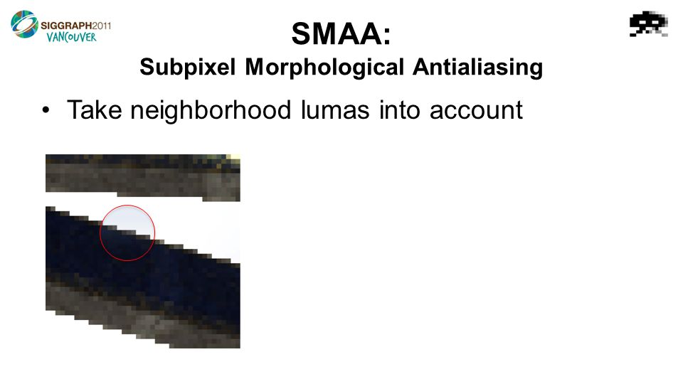 Take neighborhood lumas into account SMAA: Subpixel Morphological Antialiasing