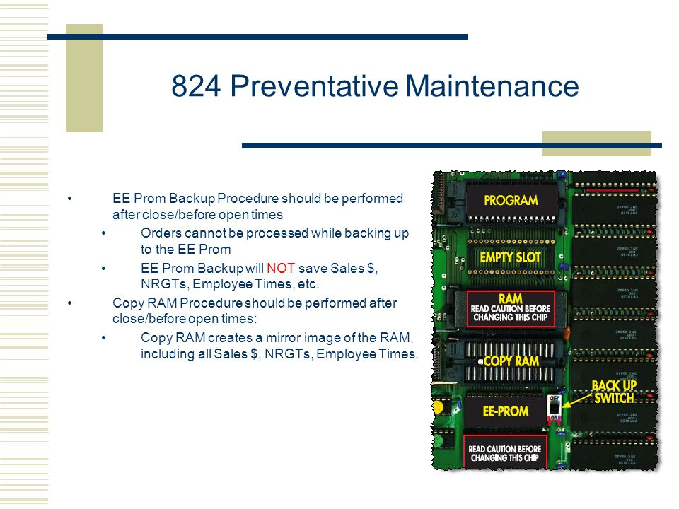 824 Preventative Maintenance EE Prom Backup Procedure should be performed after close/before open times Orders cannot be processed while backing up to the EE Prom EE Prom Backup will NOT save Sales $, NRGTs, Employee Times, etc.